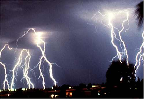 thunder ; lightning ; deafening ; flashing ; violent ; furious